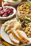 Cena casalinga di ringraziamento della Turchia Immagini Stock