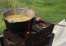 Cena che cucina su un fuoco aperto nel giardino Fotografie Stock