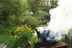 Cena che cucina su un fuoco aperto nel giardino Immagini Stock