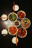 Cena china para cuatro familias Foto de archivo libre de regalías