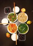 Cena china para la familia tres Foto de archivo