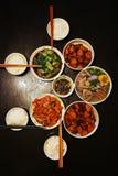 Cena cinese per quattro famiglie fotografia stock libera da diritti
