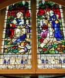 Cena colorida em uma janela de vitral Fotografia de Stock Royalty Free