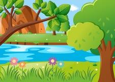 Cena com árvores e rio Imagens de Stock
