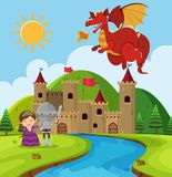 Cena com dragão e cavaleiro no mundo das fadas ilustração stock