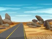 Cena com a estrada na terra firme ilustração royalty free