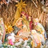 Cena com figuras - bebê Jesus da natividade, Mary, Joseph Fotografia de Stock