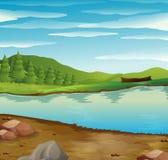 A cena com rio corre através da floresta Foto de Stock