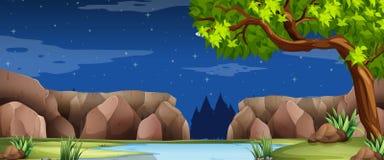 Cena com rio e garganta na noite Imagem de Stock
