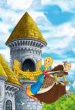 Cena com voo da princesa no cabo de vassoura com a bruxa - menina bonita do conto de fadas dos desenhos animados do manga Fotografia de Stock