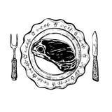 Cena con el filete Imagen de archivo libre de regalías