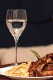 Cena con el vino Imagenes de archivo