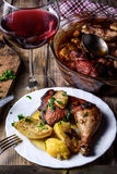 Cena con el vino Imagen de archivo libre de regalías