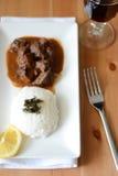 Cena con lo stufato di manzo e del riso Fotografia Stock Libera da Diritti