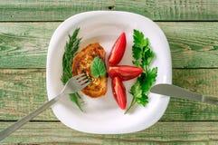 Cena con toaste, pomodori Vista superiore Fotografia Stock