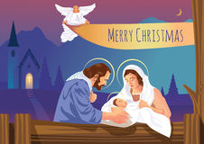 Cena cristã da natividade do Natal com bebê Jesus e anjos ilustração stock