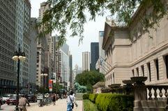 Cena da cidade do instituto da arte de Chicago Imagens de Stock Royalty Free