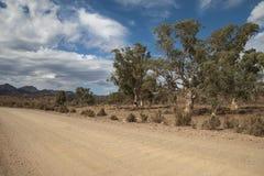 Cena da estrada de terra em um dia nebuloso fotografia de stock