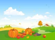Cena da exploração agrícola da colheita do outono ilustração do vetor
