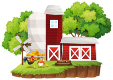 Cena da exploração agrícola com as galinhas pelos celeiros ilustração stock