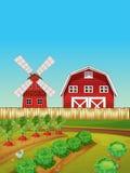 Cena da exploração agrícola com jardim vegetal e celeiro Imagens de Stock Royalty Free