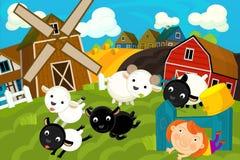 Cena da exploração agrícola dos desenhos animados - carneiros e menina Foto de Stock Royalty Free