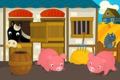 Cena da exploração agrícola dos desenhos animados - cavalo e os porcos Imagens de Stock Royalty Free