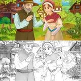 Cena da exploração agrícola dos desenhos animados com príncipe e princesa em flores - com página da coloração - imagem para conto ilustração royalty free