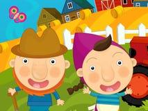 Cena da exploração agrícola dos desenhos animados - fazendeiro e sua esposa perto do trator Foto de Stock Royalty Free