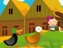 Cena da exploração agrícola dos desenhos animados - menina na exploração agrícola Fotos de Stock Royalty Free