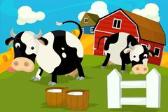 Cena da exploração agrícola dos desenhos animados - vila tradicional - para o uso diferente ilustração stock