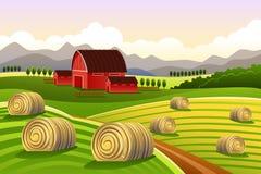 Cena da exploração agrícola com fenos rolados Fotografia de Stock