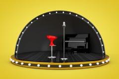 Cena da fase com luzes e piano, microfone e cantor Chair Fotos de Stock Royalty Free