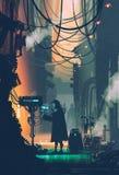 Cena da ficção científica do robô usando o computador futurista na rua da cidade Imagem de Stock Royalty Free