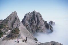 A cena da montanha amarela Foto de Stock Royalty Free