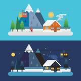 Cena da montanha do inverno dia e noite Fotos de Stock