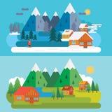 Cena da montanha do inverno e do verão Imagens de Stock