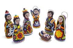 Cena da natividade de Huichol com reis mágicos Fotos de Stock Royalty Free