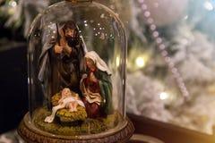 Cena da natividade Decoração do Natal com nascimento do bebê Jesus christ imagens de stock