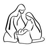 Cena da natividade do bebê Jesus no comedoiro com mão da garatuja do esboço de ilustração do vetor da silhueta de Mary e de Josep ilustração royalty free