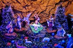 Cena da natividade do Natal com bebê Jesus imagens de stock