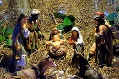 Cena da natividade do Natal com bebê Jesus foto de stock