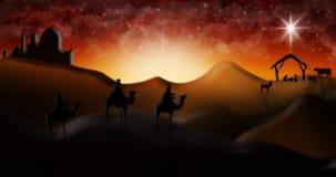 Cena da natividade do Natal de três três Reis Magos dos homens sábios que vão encontrar vagabundos Fotografia de Stock