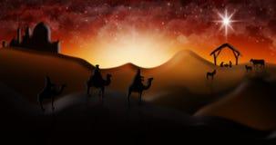 Cena da natividade do Natal de três três Reis Magos dos homens sábios que vão encontrar vagabundos Fotografia de Stock Royalty Free