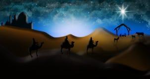 Cena da natividade do Natal de três três Reis Magos dos homens sábios que vão encontrar vagabundos Foto de Stock