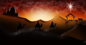 Cena da natividade do Natal de três três Reis Magos dos homens sábios que vão encontrar vagabundos Fotos de Stock Royalty Free
