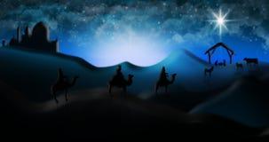 Cena da natividade do Natal de três três Reis Magos dos homens sábios que vão encontrar vagabundos Imagens de Stock Royalty Free