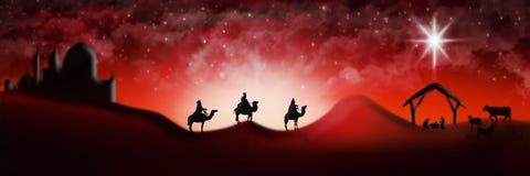 Cena da natividade do Natal de três três Reis Magos dos homens sábios que vão encontrar vagabundos Imagem de Stock