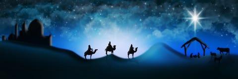 Cena da natividade do Natal de três três Reis Magos dos homens sábios que vão encontrar vagabundos Imagem de Stock Royalty Free