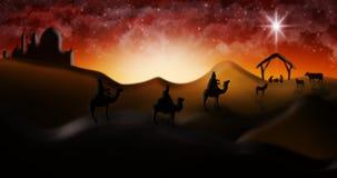 Cena da natividade do Natal de três três Reis Magos dos homens sábios que vão encontrar vagabundos Imagens de Stock